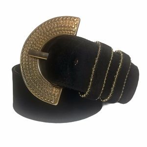 PATRICIA GREEN Black Suede Belt with Brass Buckle